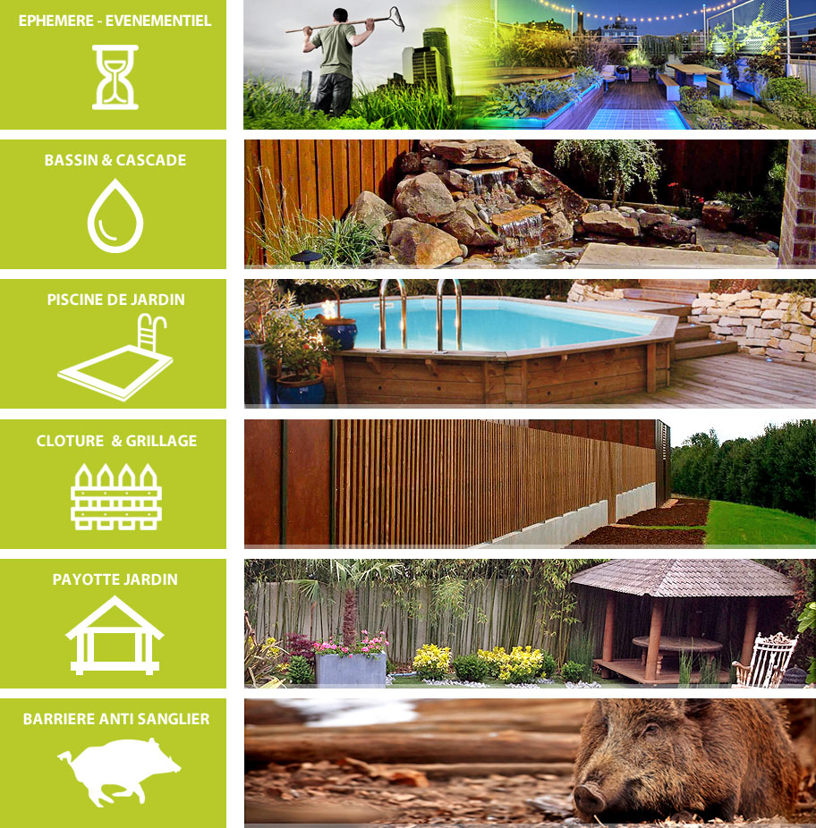 Ephemere evenmentiel - Bassin& cascade - Piscine de jardin - Cloture & grillage - payotte